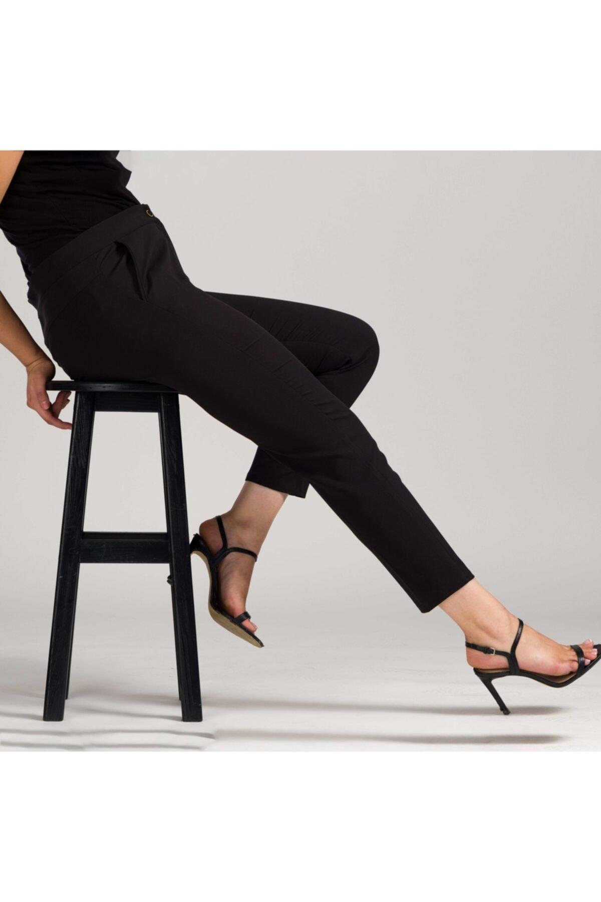 MODAMAİSA Kadın Siyah Dar Bilek Pantolon 1