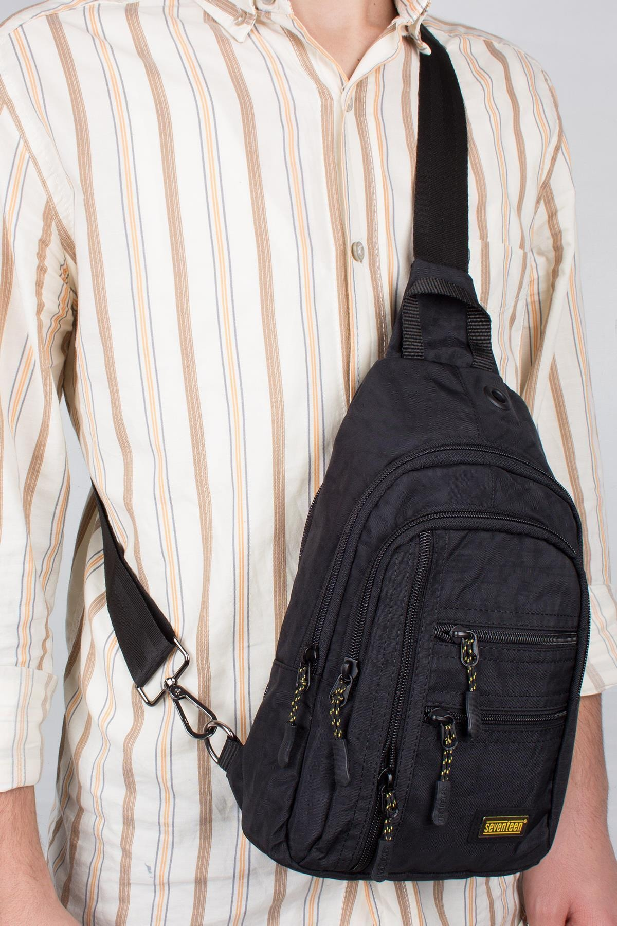 Bagacar Unisex Siyah Kumaş Çapraz Göğüs Body Bag Ve Sırt Çantası 1