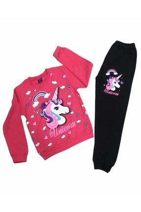 Bebemo Kız Çocuk Pembe Unicorn Pembe Baskılı Alt Üst Takım