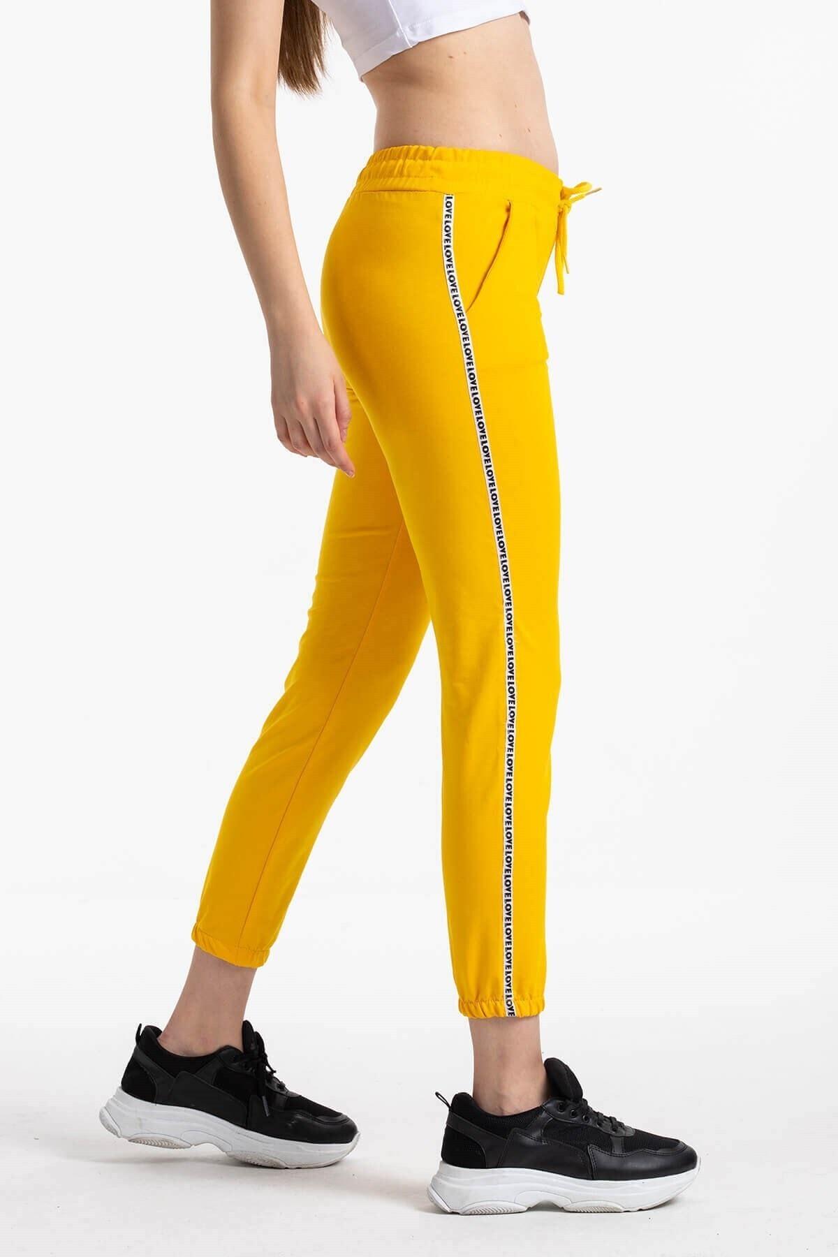 Mossta Kadın Sarı Şeritli Eşofman Altı 1
