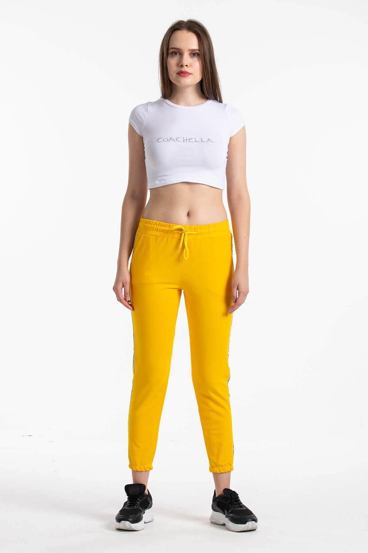 Mossta Kadın Sarı Şeritli Eşofman Altı 2