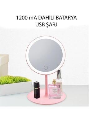SY TASARIM Dokunmatik Led Işıklı Usb Li Yuvarlak Masa Üstü Makyaj Aynası Güzellik