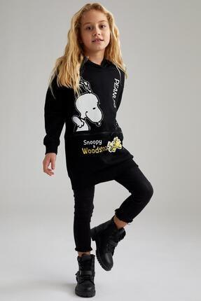 DeFacto Kız Çocuk Siyah Snoopy Lisanslı Sweatshirt