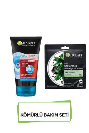 Garnier Kömürlü Bakım Seti Saf Ve Temiz Kömür Peeling Ve Siyah Kağıt Maske Seti