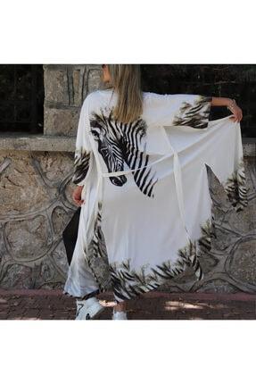 Yeşim Livaoğlu Tasarım Zebra Uzun Kimono Kaftan