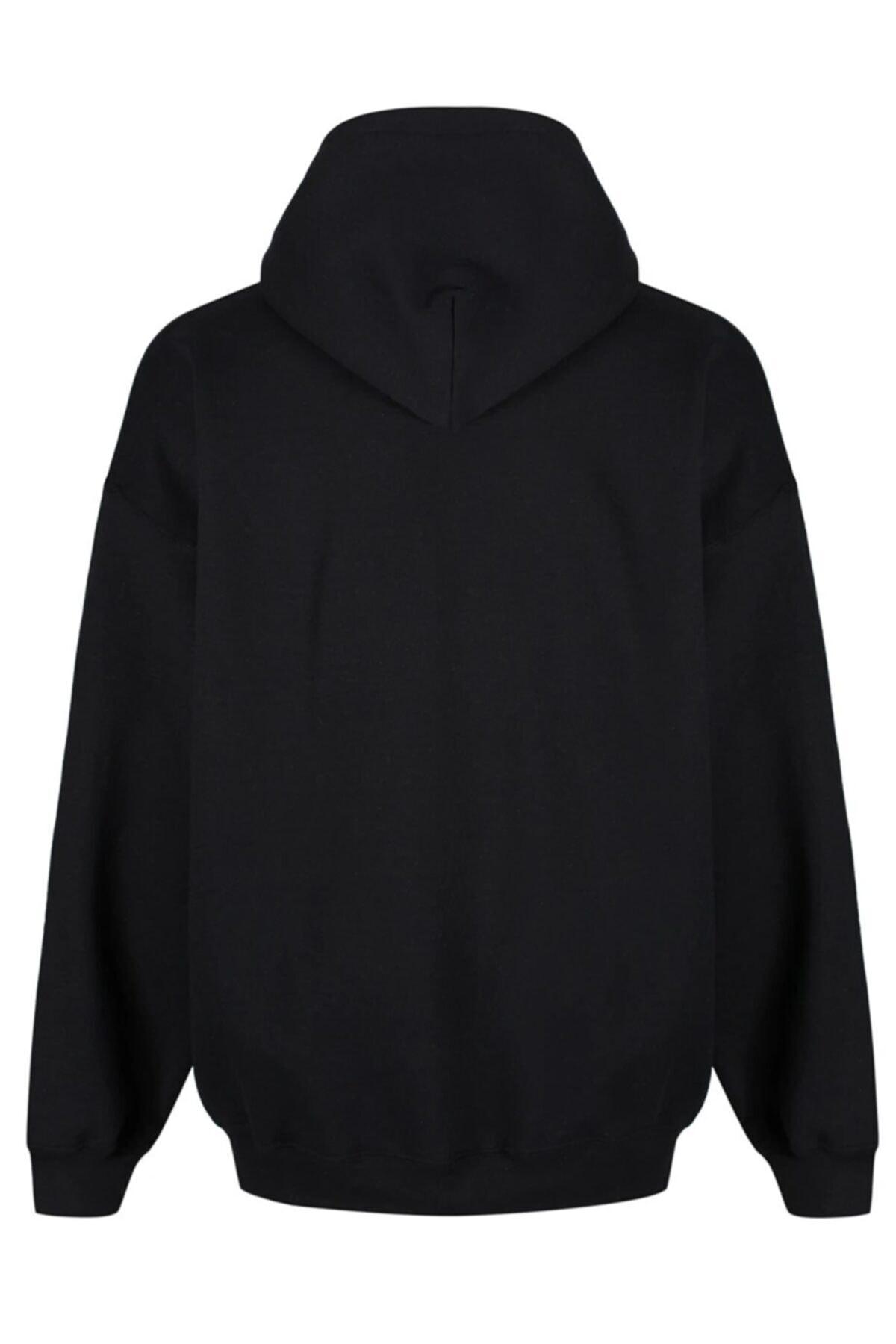 FAVORİZADE Unisex Siyah Eagle Head Baskılı Kapüşonlu Sweatshirt 2