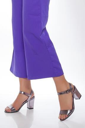 Deripabuc Kadın Gümüş Hakiki Deri Topuklu Ayakkabı Shn-0032