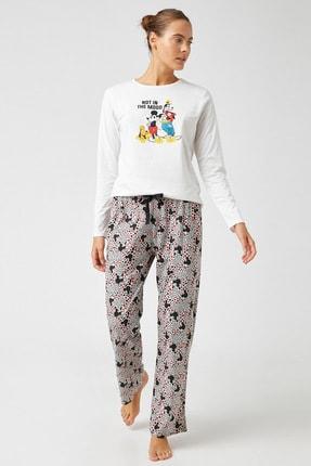 Koton Kadın Grı Melange Desenli Pijama Takımı 1KLK79321MK