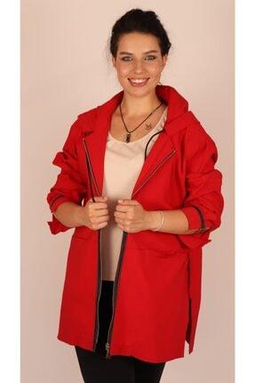 Ultimod Kadın Kırmızı Kapüşonlu Şerit Detaylı Casual Ceket Ult20342