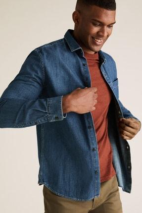 Marks & Spencer Erkek Mavi Saf Pamuklu Denim Gömlek T25001060M