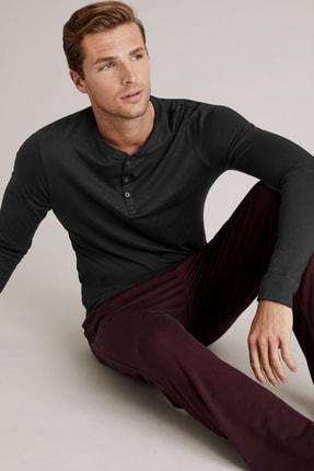 Marks & Spencer Erkek Siyah Premium Pamuklu Henley Pijama Üstü T07001204A