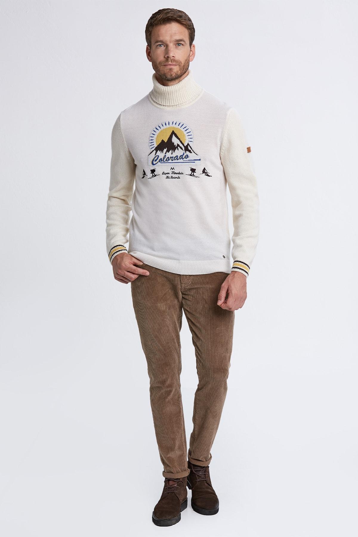 Hemington Erkek Kırık Beyaz Desenli Boğazlı Kaşmir Yün Karışımlı Kazak 2