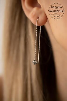 Ninova Silver Kadın Swarovski Taşlı Tek Taş Sallantılı Gümüş Küpe PKT-SBS0777