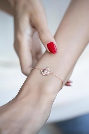 İzla Design Kadın Rose Kaplama Göz Model Zirkon Taşlı Gümüş Bileklik İZLASLVR00348