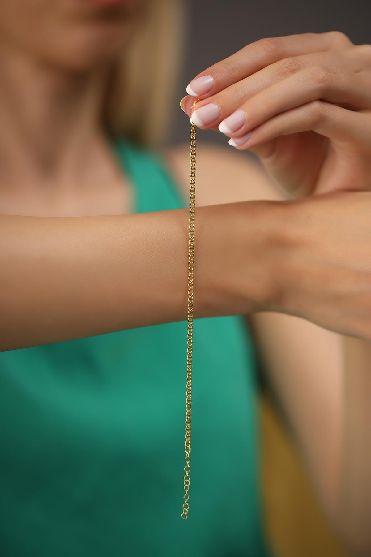 İzla Design Kadın Ezme Barlı Model Altın Kaplama Gümüş İtalyan Bileklik 2