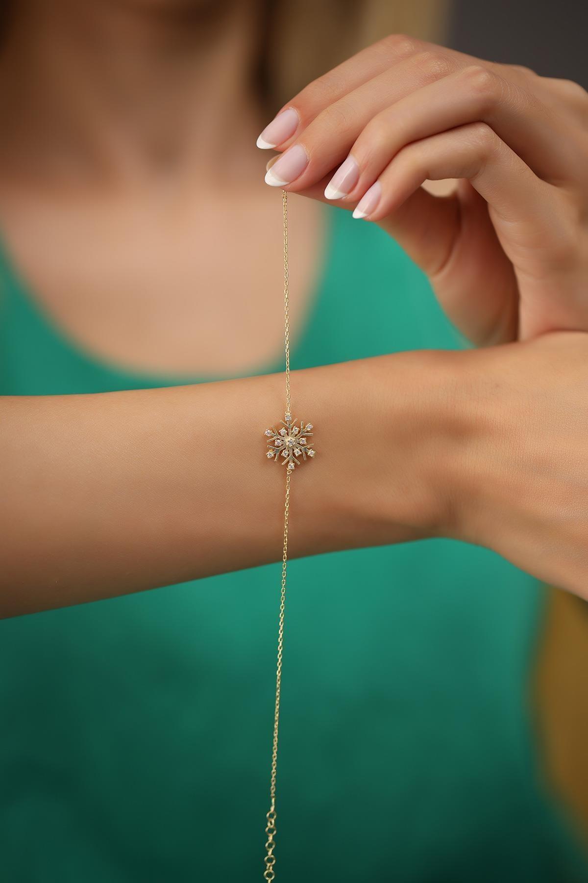 İzla Design Kadın Kar Tanesi Model Altın Kaplama Gümüş İtalyan Bileklik 2