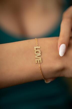 İzla Design Kadın Love Model Altın Kaplama Gümüş İtalyan Bileklik