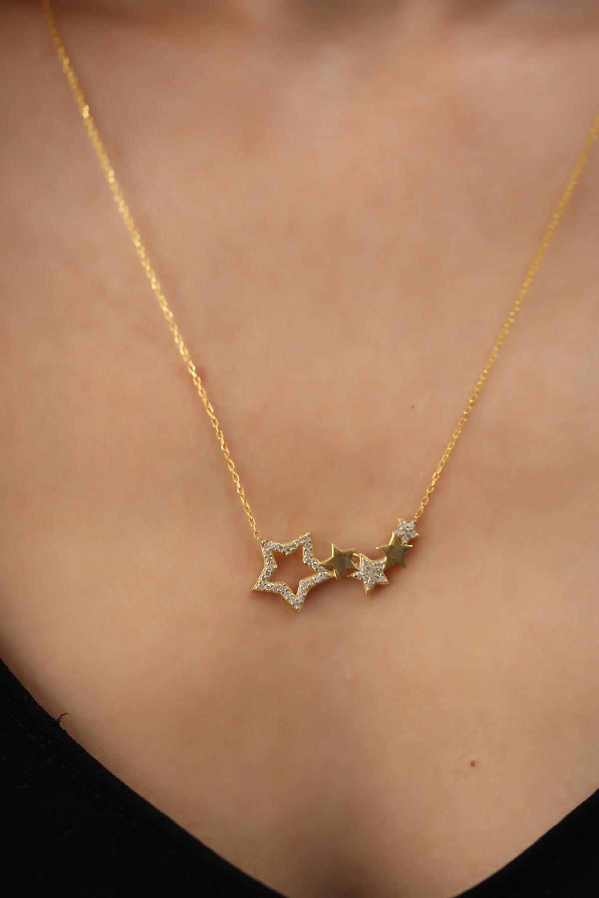 İzla Design Kadın Beşli Yıldız Model Altın Kaplama Gümüş Kolye 2