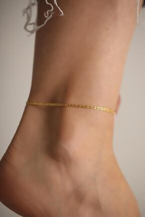 İzla Design Kadın Ezme Barlı Model Altın Kaplama Gümüş İtalyan Halhal