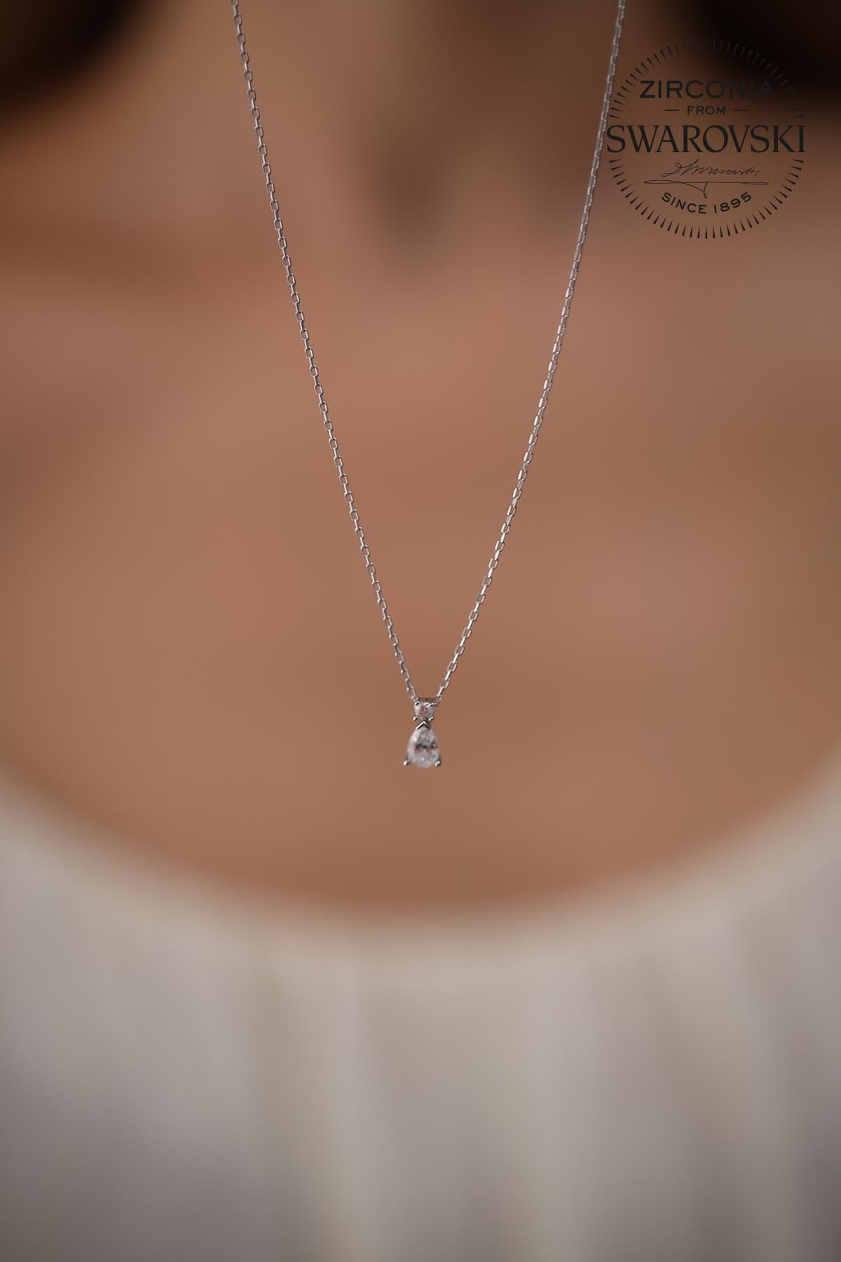 Ninova Silver Kadın Taşlı Damla Model Gümüş Kolye 1