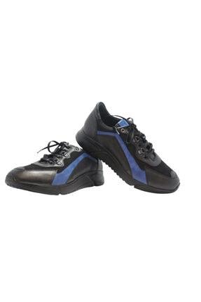 Elite Erkek Siyah Mavi Bağcıklı Baskılı Hakiki Deri Ayakkabı