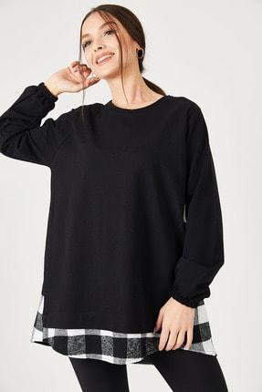 armonika Kadın Siyah Sırtı Ekose Desen Sweatshirt ARM-21K024045