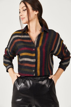 armonika Kadın Renkli Çizgili Salaş Gömlek ARM-21K001034