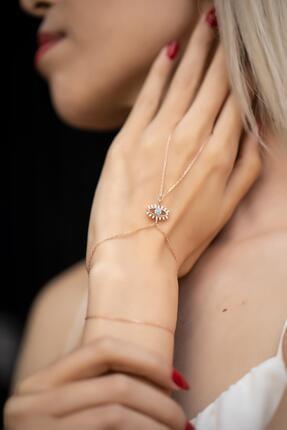İzla Design Kadın Turkuaz Taşlı Göz Model Rose Kaplama Gümüş Şahmeran