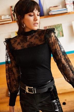 Olalook Kadın Siyah Balon Kol Fırfırlı Dantel Detaylı Krep Bluz BLZ-19001223