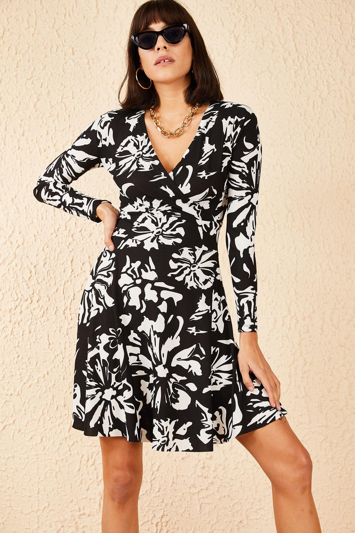 Bianco Lucci Kadın Yaprak Desenli Kruvaze Elbise 10181014