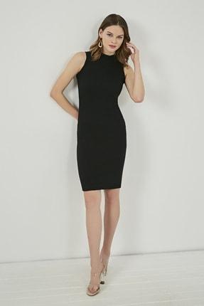 Sateen Kadın Siyah Dik Yaka Basic Fitilli Elbise  STN904KEL127