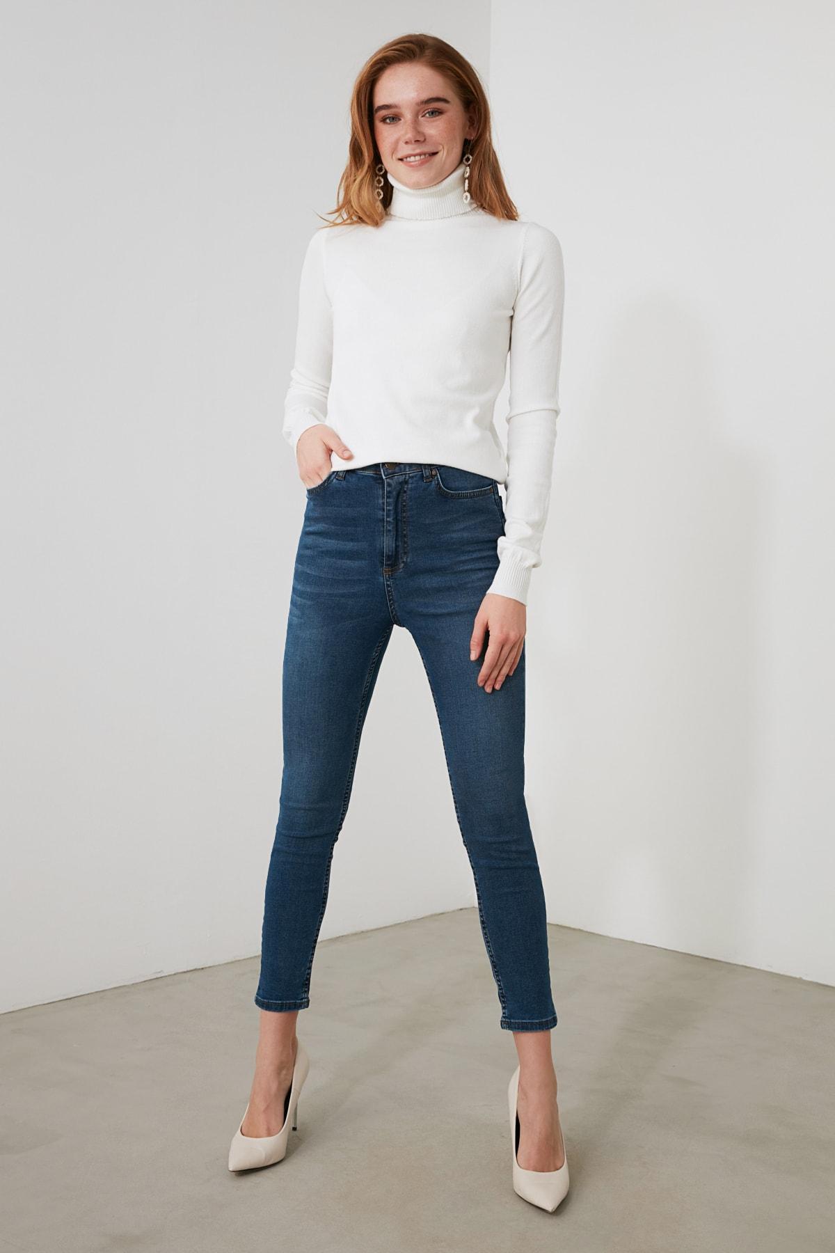 TRENDYOLMİLLA Mavi Yüksek Bel Skinny Jeans TWOAW21JE0794 1