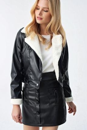 Trend Alaçatı Stili Kadın Siyah İçi Kürklü Premıum Suni Deri Ceket ALC-X5171