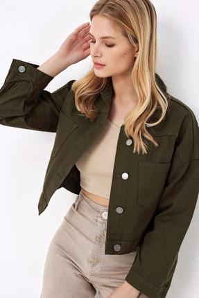 Trend Alaçatı Stili Kadın Açık Haki Crop Denım Ceket ALC-X3631-RV