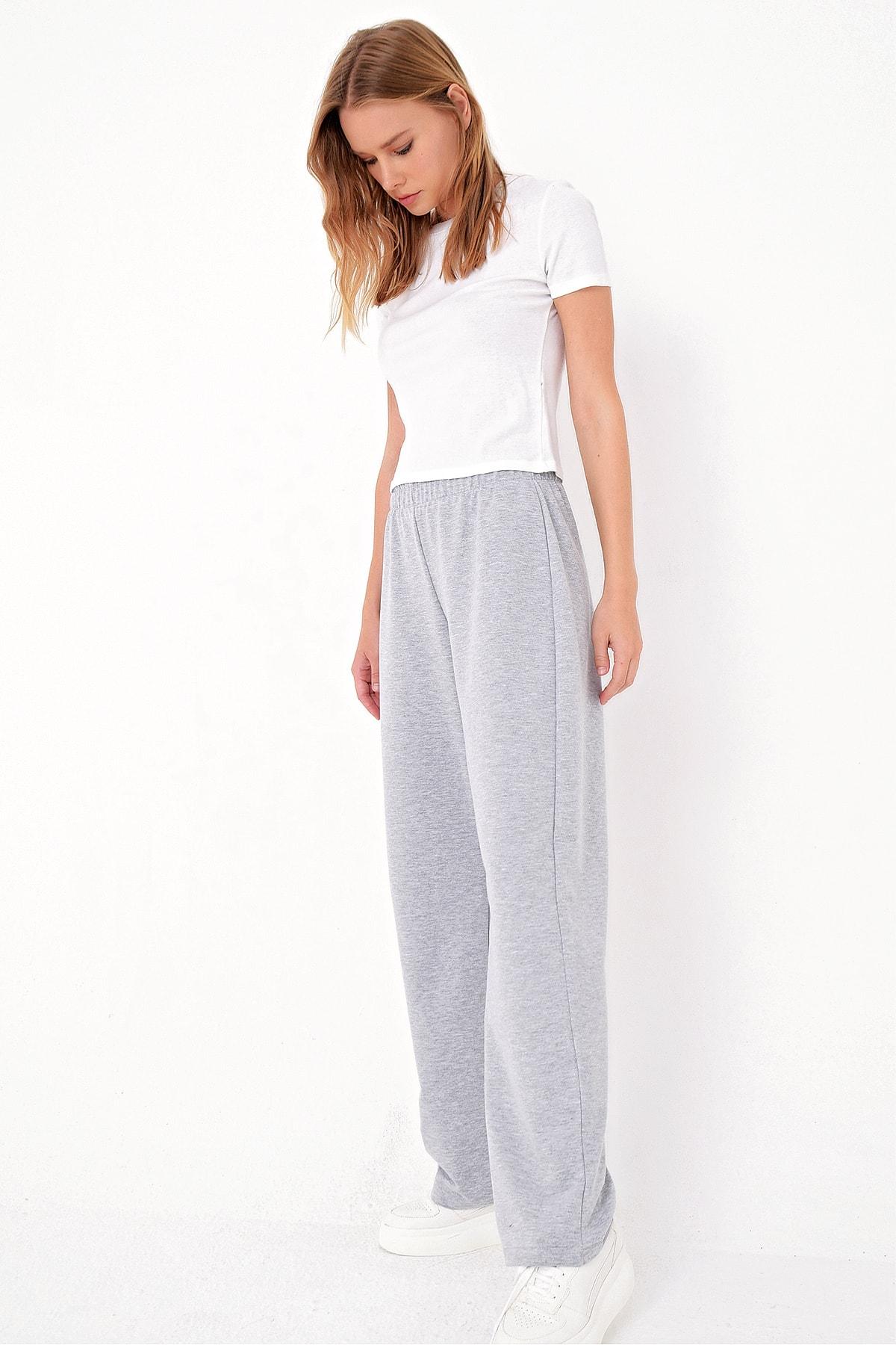 Trend Alaçatı Stili Kadın Gri Bol Paça Uzun Eşofman Altı ALC-X5046 2