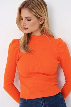 Trend Alaçatı Stili Kadın Turuncu Prenses Kol Yarım Balıkçı Şardonlu Crop Bluz ALC-X5042