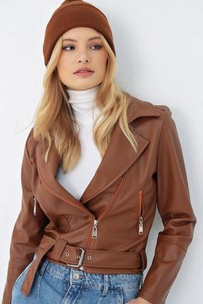Trend Alaçatı Stili Kadın Taba Fermuarlı Premıum Suni Deri Ceket ALC-X5170