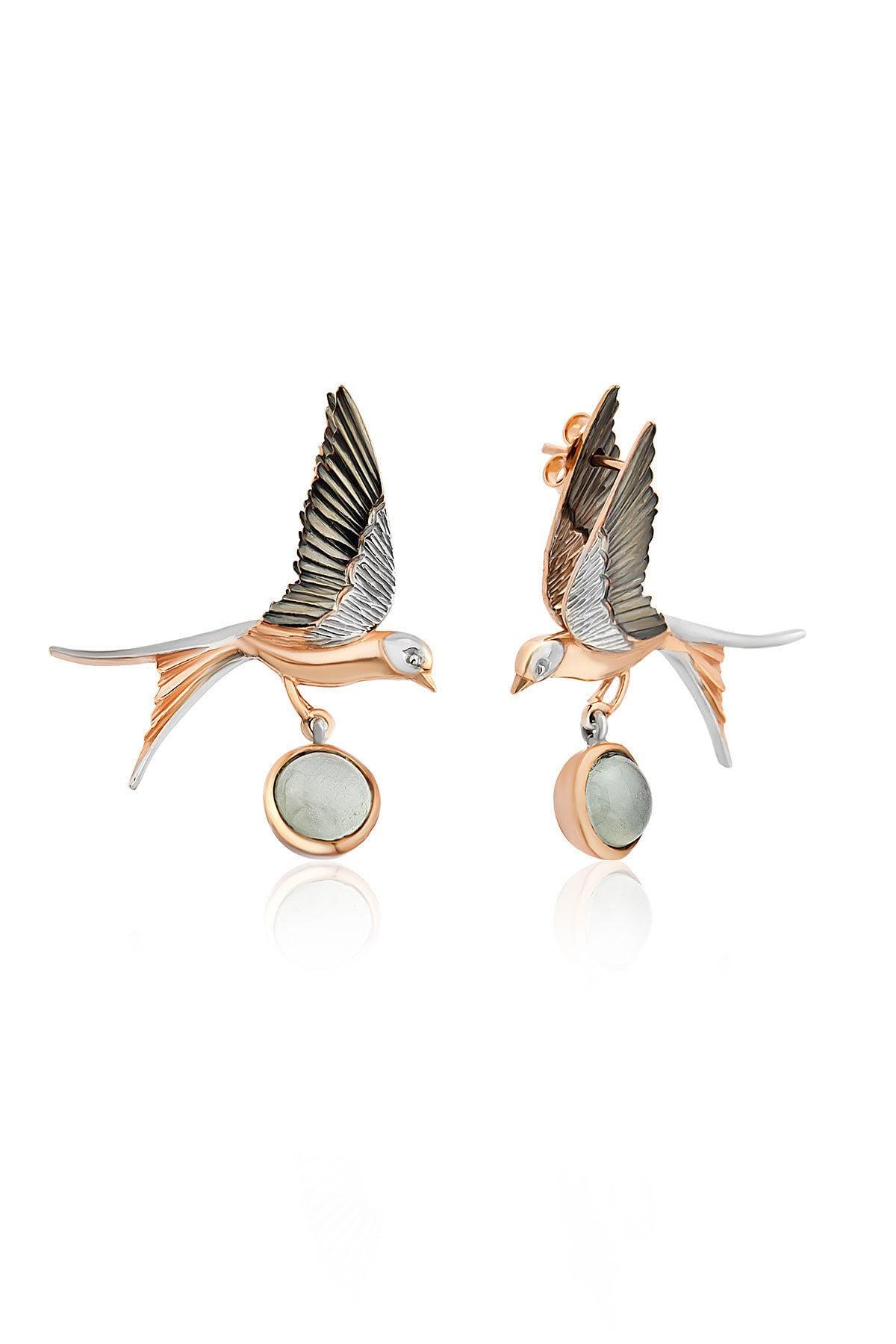 Beyoğlu Genesis Silver Tasarım El Işçiliği Doğal Taşlı Ikili Kuş Figürlü Küpe 1