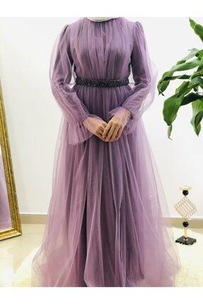Loreen Kadın Lila Tüllü Abiye Elbise