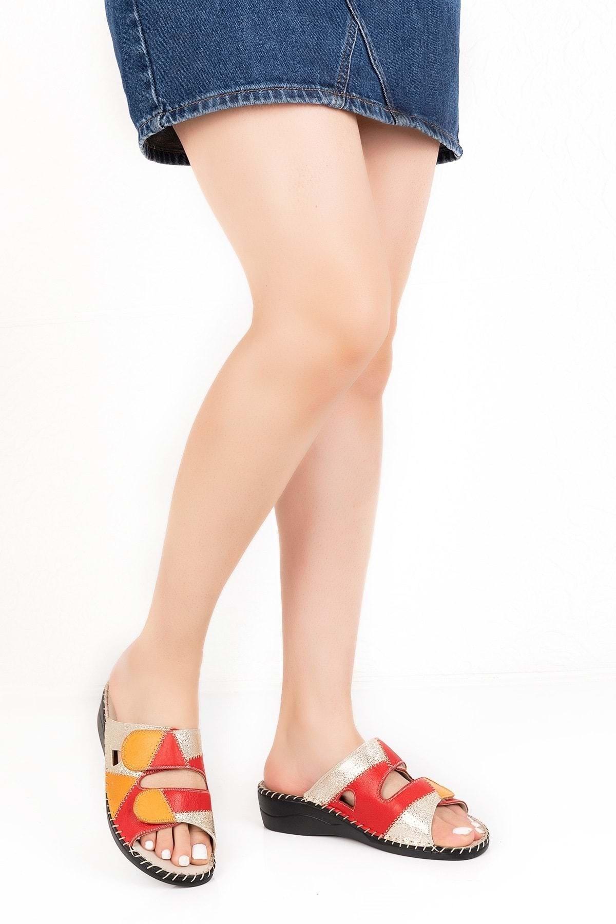 Gondol Kadın Kırmızı Hakiki Deri Çok Renkli Yumuşak Anatomik Taban Terlik 1