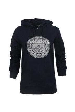 Fenerium Kadın Lacivert Trıbun Gümüş Varak Logo Sweatshirt