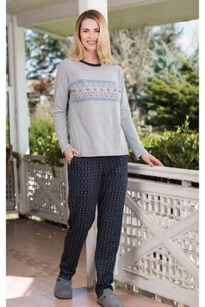Yeni İnci Kadın Gri Süprem Penye Uzun Kollu Pijama Takım