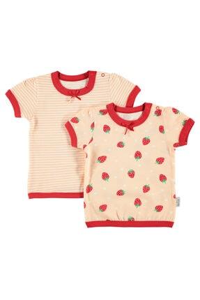 Kujju Kız Bebek 2'li Tişört 6-18 Ay Somon