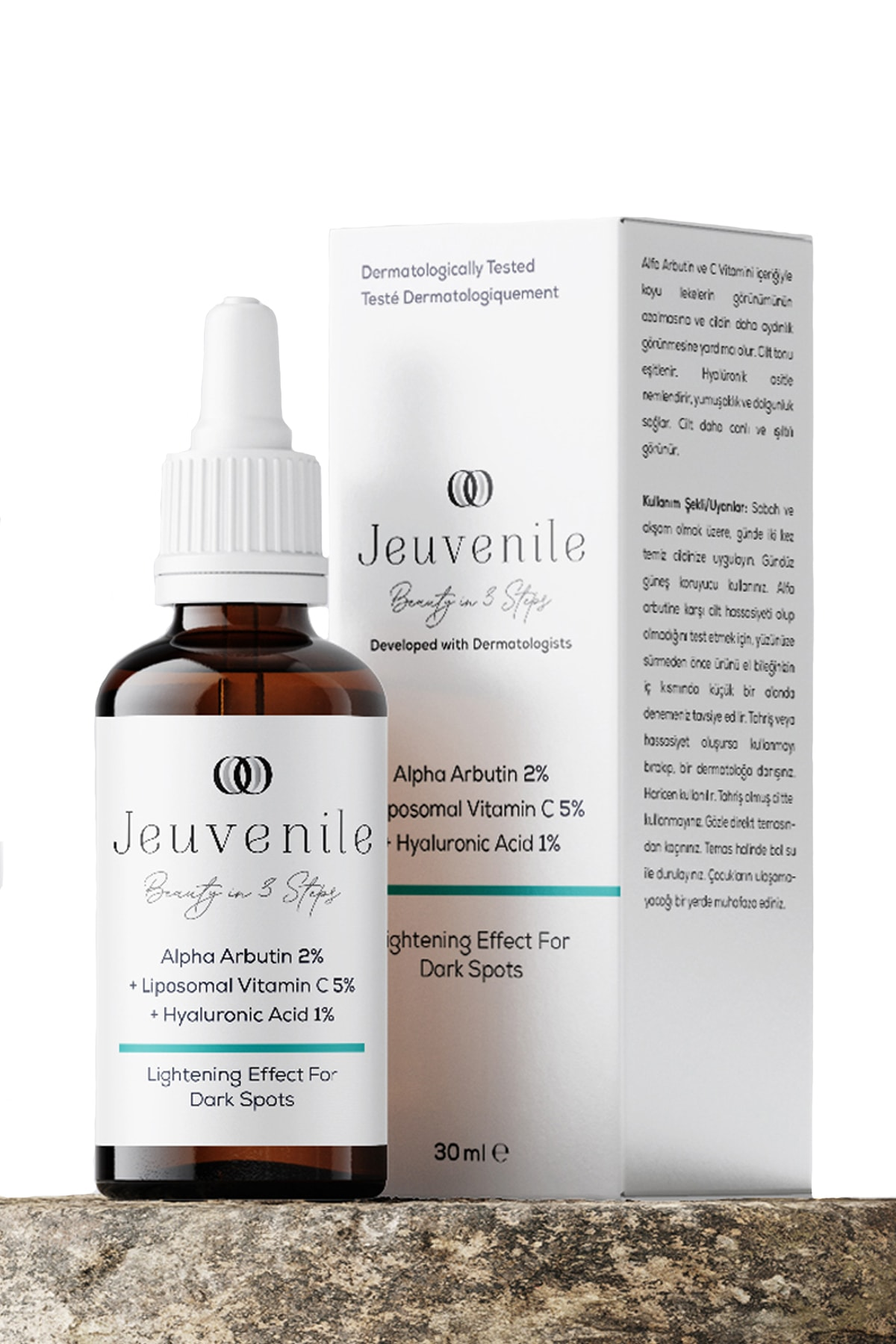 Jeuvenile Alpha Arbutin %2 + Liposomal Vitamin C %5 + Hyaluronic Acid %1 Leke Karşıtı Serum 30 ml 1
