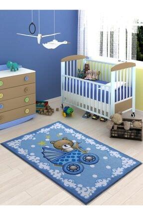 Confetti Oymalı Çocuk Halısı Teddy Buggy Koyu Mavi 100x150 Cm