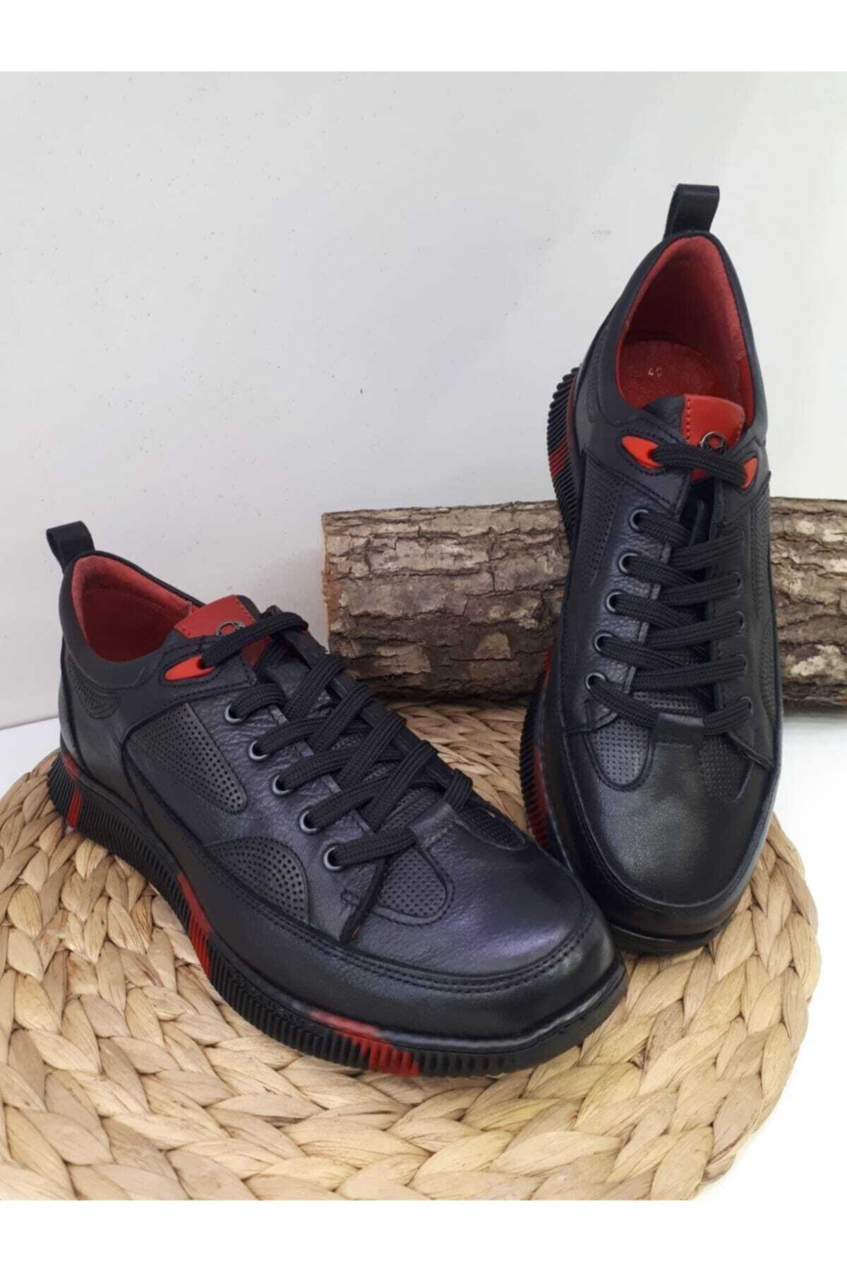 MARCO ROSSİ Erkek Siyah Hakiki Deri Günlük Spor Ayakkabı 1
