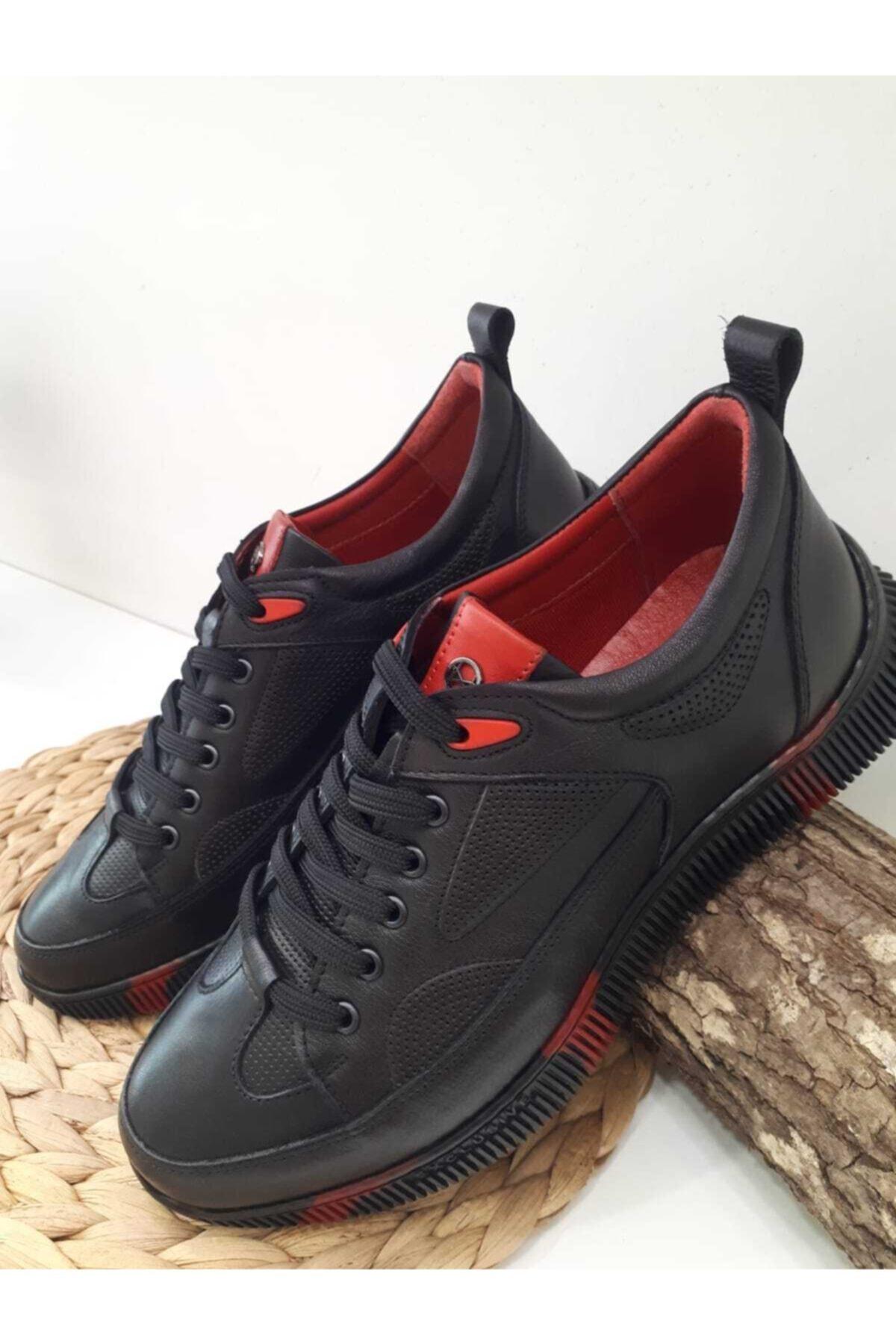 MARCO ROSSİ Erkek Siyah Hakiki Deri Günlük Spor Ayakkabı 2