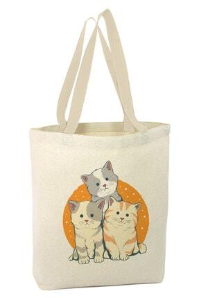 Angemiel Üç Yavru Kedi Alışveriş Plaj Bez Çanta