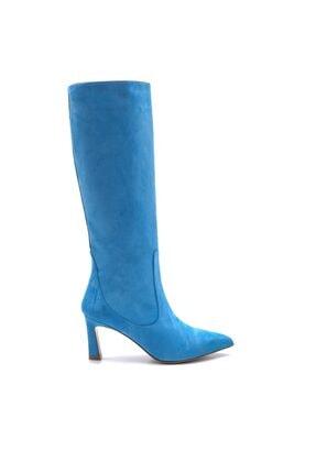 Sofia Baldi Kadın Mavi Süet Kadın Topuklu Çizme
