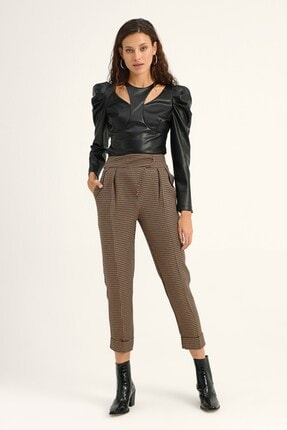 Quzu Kadın Kahverengi Çizgili Duble Paça Pantolon